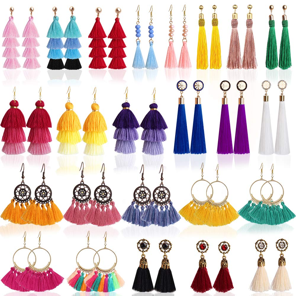 Outee 24 Pairs Tassel Earrings Layered Long Thread Ball Dangle Earrings Bohemian Tiered Tassel Drop Colorful Earrings Fashion Jewelry Multiple Style for Women Birthday Party Gifts by Outee