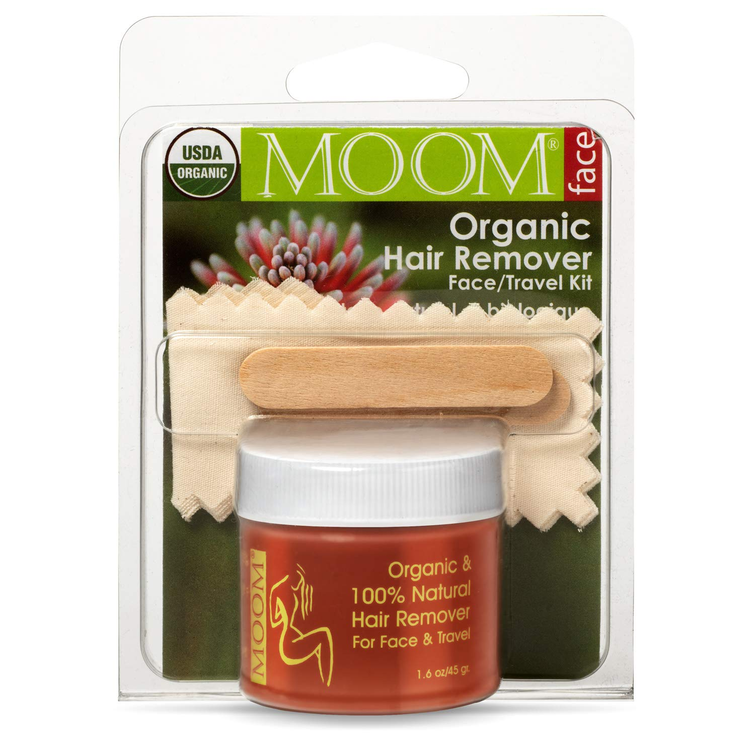 MOOM Organic Travel Wax Kit with Aloe, Tea Tree Oil & Chamomile for Face - Natural Sugar Waxing Glaze with 6 Facial Fabric Strips & 2 Small Wooden Applicator Sticks 1.6 oz. - Facial Wax Kit - 1 Pack