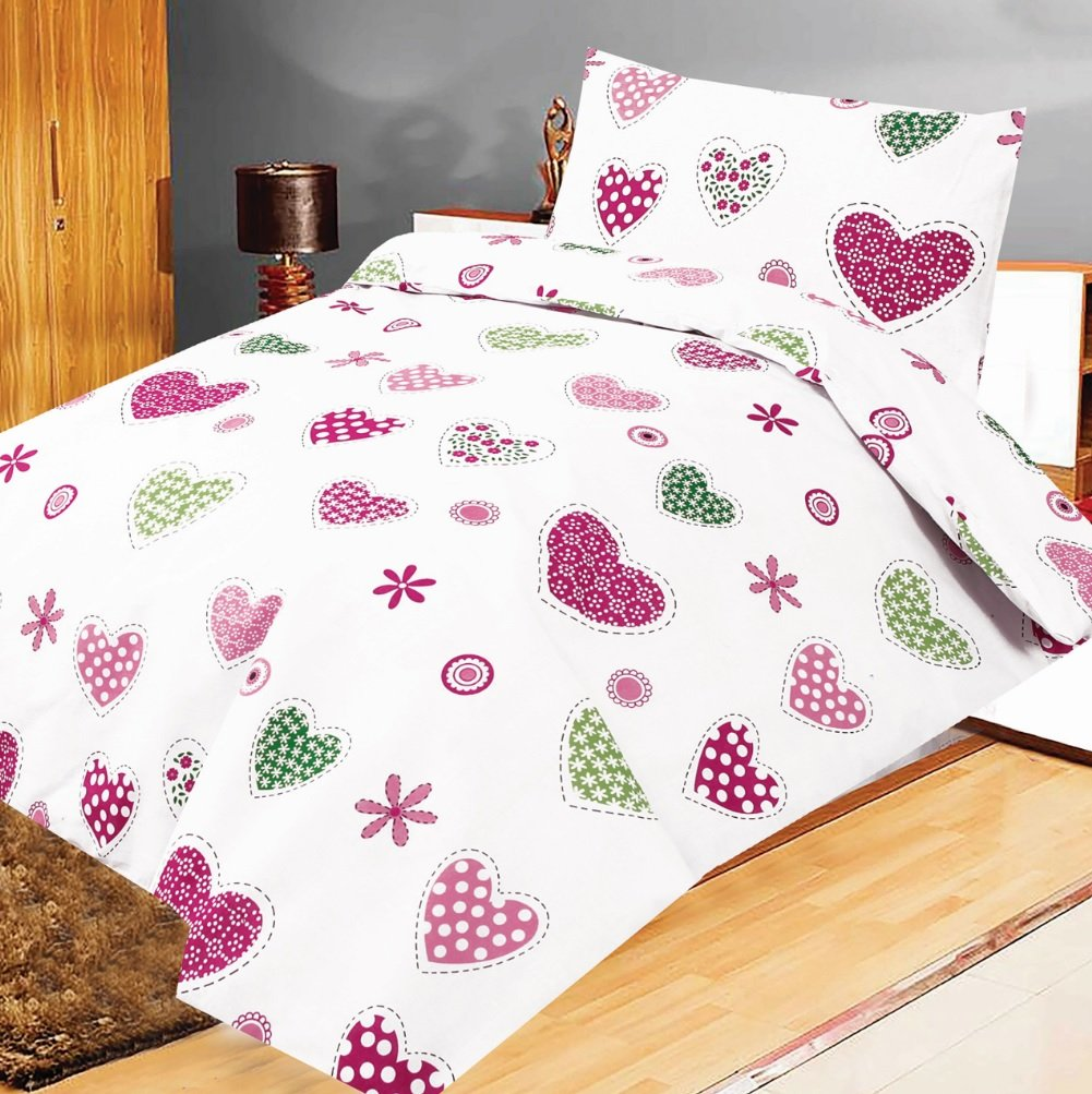 Love2Sleep COT BED DUVET COVER WITH PILLOWCASE- SUPERIOR NATURAL COTTON RICH 120 X 150 CM - BABY HEART