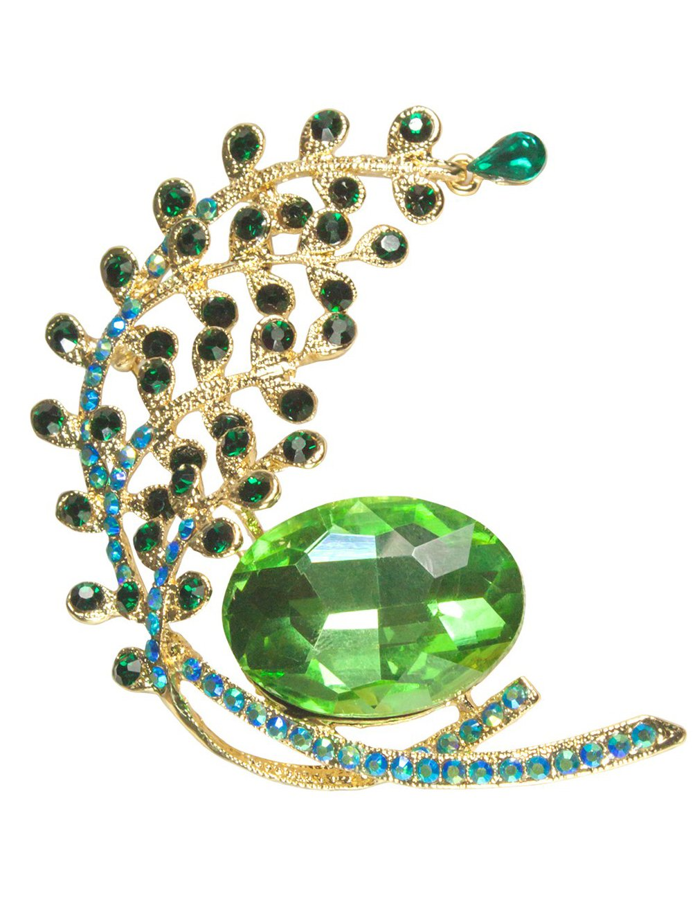 Dahlia Peacock Tail Emerald Crystal Brooch Pin - Gold