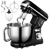 Stand Mixer, Aicok Dough Mixer with 5 Qt Stainless Steel Bowl, 6 Speeds Tilt-Head Food Mixer, Kitchen Electric Mixer with Dou
