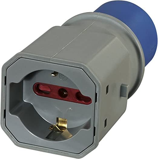 Electraline 80863 Adaptador Enchufe a 3 Polos Industrial IEC Enchufe polivalente (Schuko + 10/16 A) Apto para Caravana, Camping, Caravan, Barco, Obra – IP20 Gris: Amazon.es: Bricolaje y herramientas