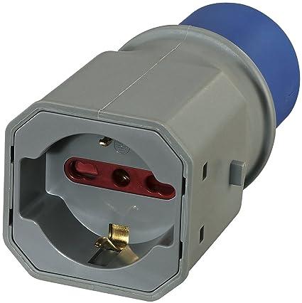 Electraline 80863 Adaptador Enchufe a 3 Polos Industrial IEC Enchufe polivalente (Schuko + 10/16 A) Apto para Caravana, Camping, Caravan, Barco, Obra ...