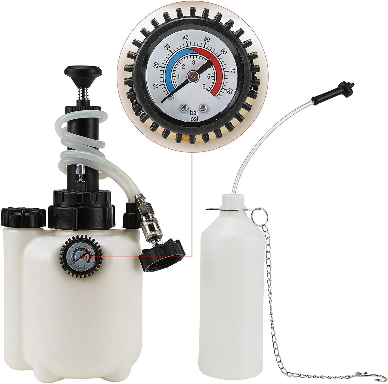 Sfeomi Purgador de Frenos de Coche 3L Extractor de Fluidos Neumático de Freno 60 PSI Purgador de Líquido de Frenos Brake Fluid Bleeder