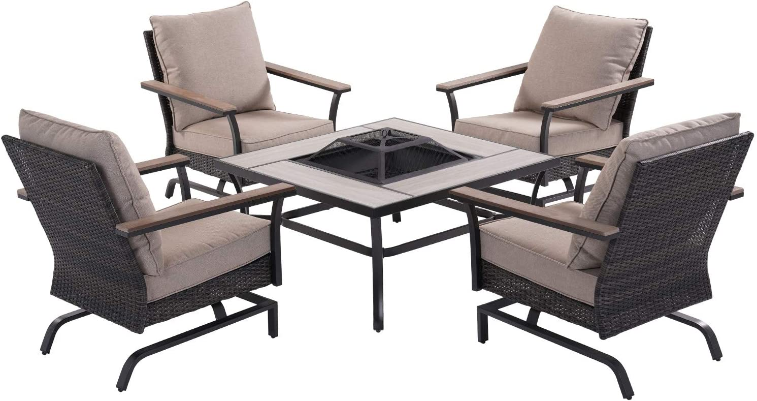 Grand patio 5 PCS Fire Pit Conversation Sets, Steel Frame Rattan Sofa Set with 4 Outside Full Cushion Sofas & Fire Pit