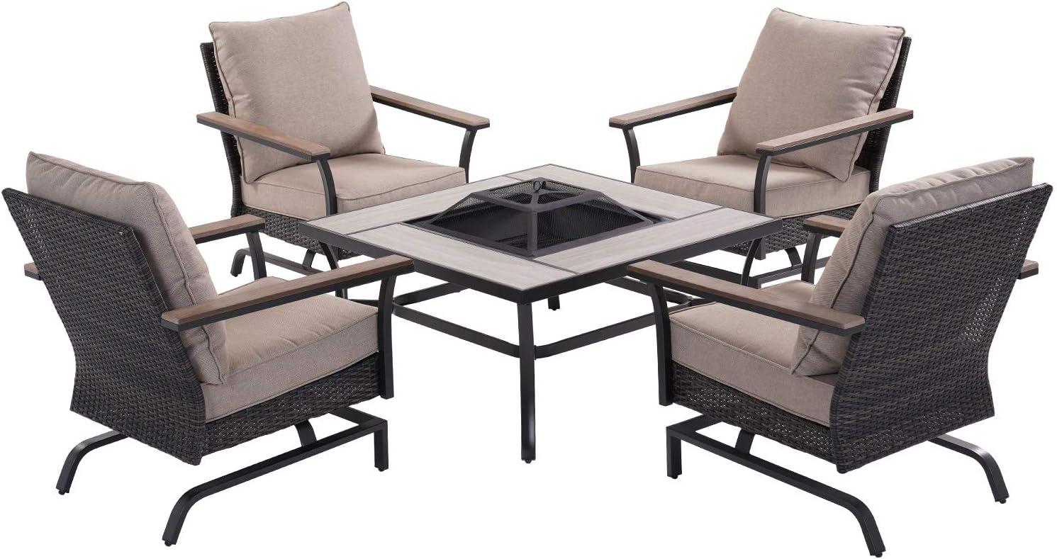 Grand patio Fire Pit 5 Piece Conversation Patio Sofa Set