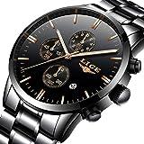 Hombres Relojes,LIGE Acero Inoxidable Resistente al Agua Analógico de Cuarzo Relojes Cronógrafo Moda Casual Lujo Relojes de Pulsera