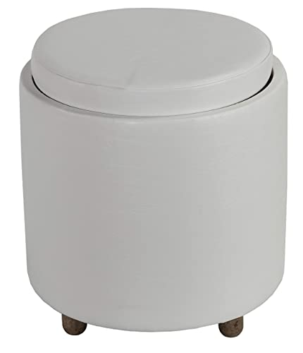 Cortesi Home Keyes Round Storage Ottoman with Tray Top 18 , White Faux Leather and Driftwood Legs