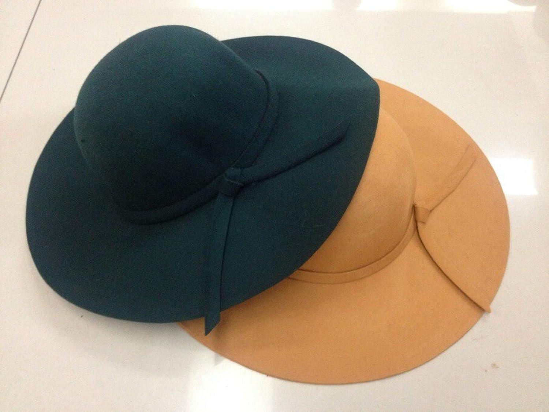 Vintage Wide Brim 100/% Wool Felt Bowler Fedora Hats for Lady Floppy Cloche
