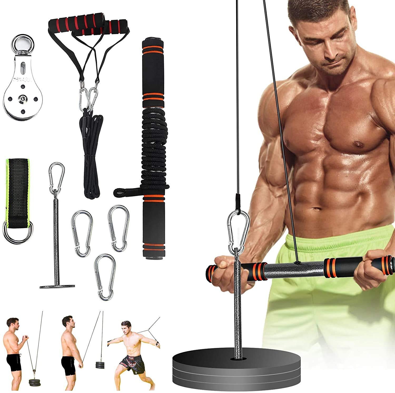 Forearm Wrist Roller Trainer Arm Strength Training Exerciser with Heavy Duty Pulley System for Lat Pull downs, Bicep curls, Triceps Extensions Fitness Workout