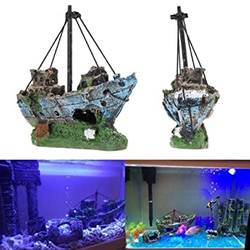 igemy tanque de peces adorno de acuario naufragio barco Hundido buque Destroyer Decor: Amazon.es: Hogar