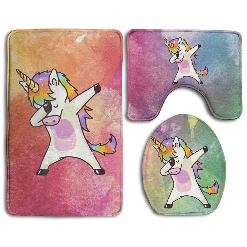 Dabbing Unicorn Skidproof Toilet Seat Cover Bath Mat Lid Cover by Bralla