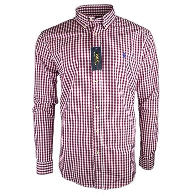 fe2c832db04 Checked Polo Ralph Lauren Men s Shirt Long Sleeve Slim Fit Size S M L XL XXL