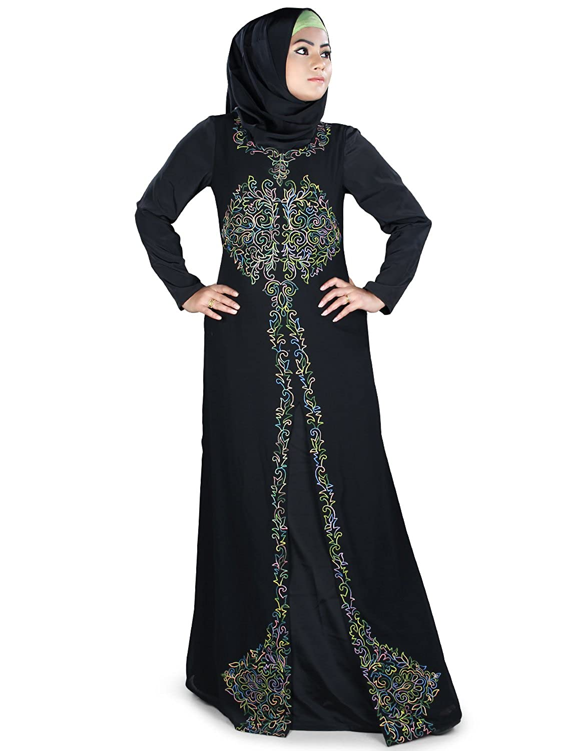 MyBatua Women's classical look Abaya with mulitcolor embroidered in front