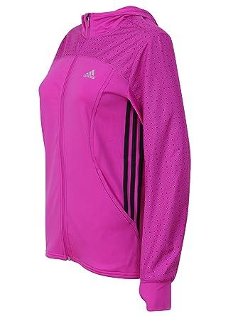 popular stores online retailer outlet on sale adidas Damen Top climalite Pink Hooded reflektierende High-Vis-Jacke