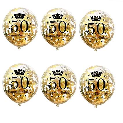 Amazon.com: SUSHAFEN - 6 globos de confeti para 50 ...