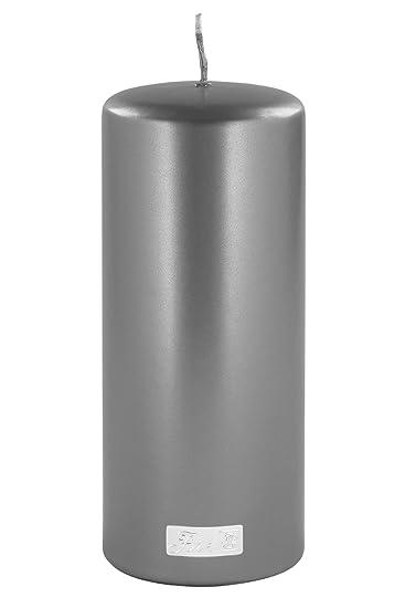 Fink Kerzen.Fink Altarkerze Stumpenkerze Kerze Getaucht Metallic Farbe Grau Silber H 20 ø 8 Cm