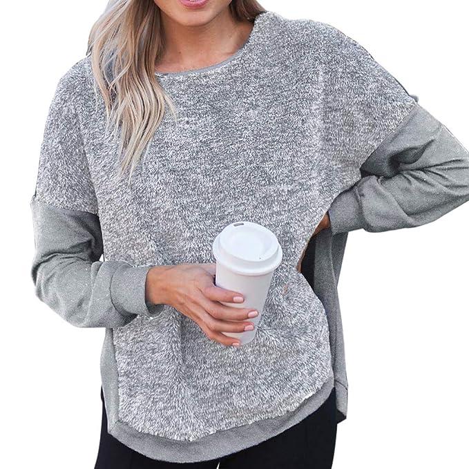 Details zu Damen Langarm Rundhals Sweater Teddy Pullover Pulli Winter Plüsch Strickpullover