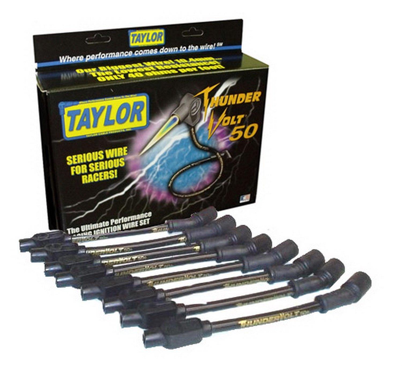 Taylor Cable 98003 Black 10.4mm Custom Fit ThunderVolt 50 High Performance Spark Plug Wire Set