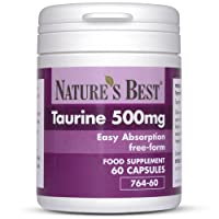 Taurine 500mg   60 capsules of Pharmaceutical Grade Free-Form Taurine  Purer And Easier On The Digestive System  