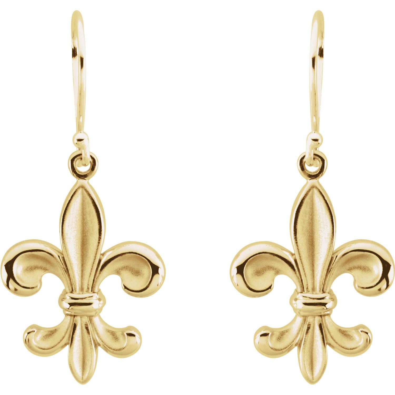 14K Yellow Gold Fleur-de-lis Dangle Earrings for Women