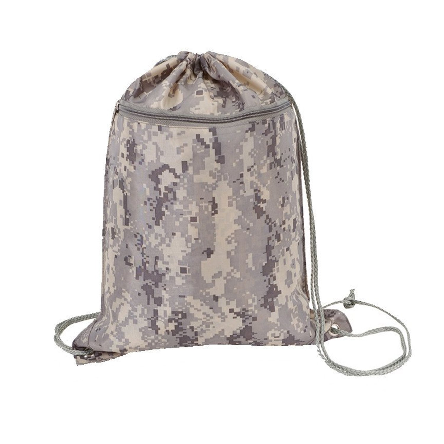 TotesRus - Well Made Roomy Durable Polyester Drawstring Backpacks with Front Zipper Pocket, Gym Bags, Sack Packs (PACK OF 48, DIGITAL-CAMO)