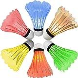 [6 Pack] Modohe Colorful LED Badminton Set Shuttlecock Dark Night Glow Birdies Lighting for Outdoor / Indoor Sports Activities Badminton