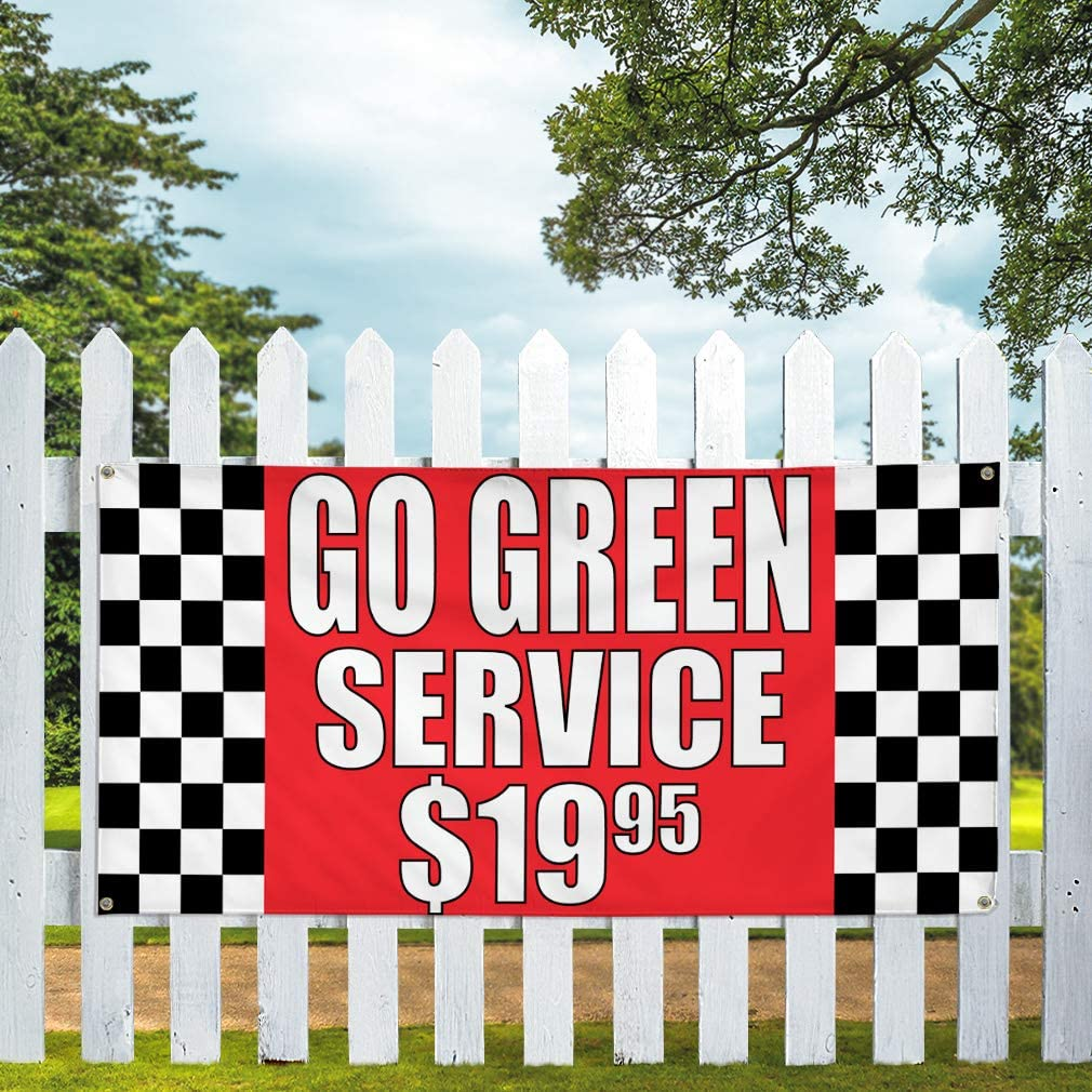 6 Grommets Set of 2 Vinyl Banner Sign Go Green Service $1995#1 Automotive Outdoor Marketing Advertising Red Multiple Sizes Available 32inx80in