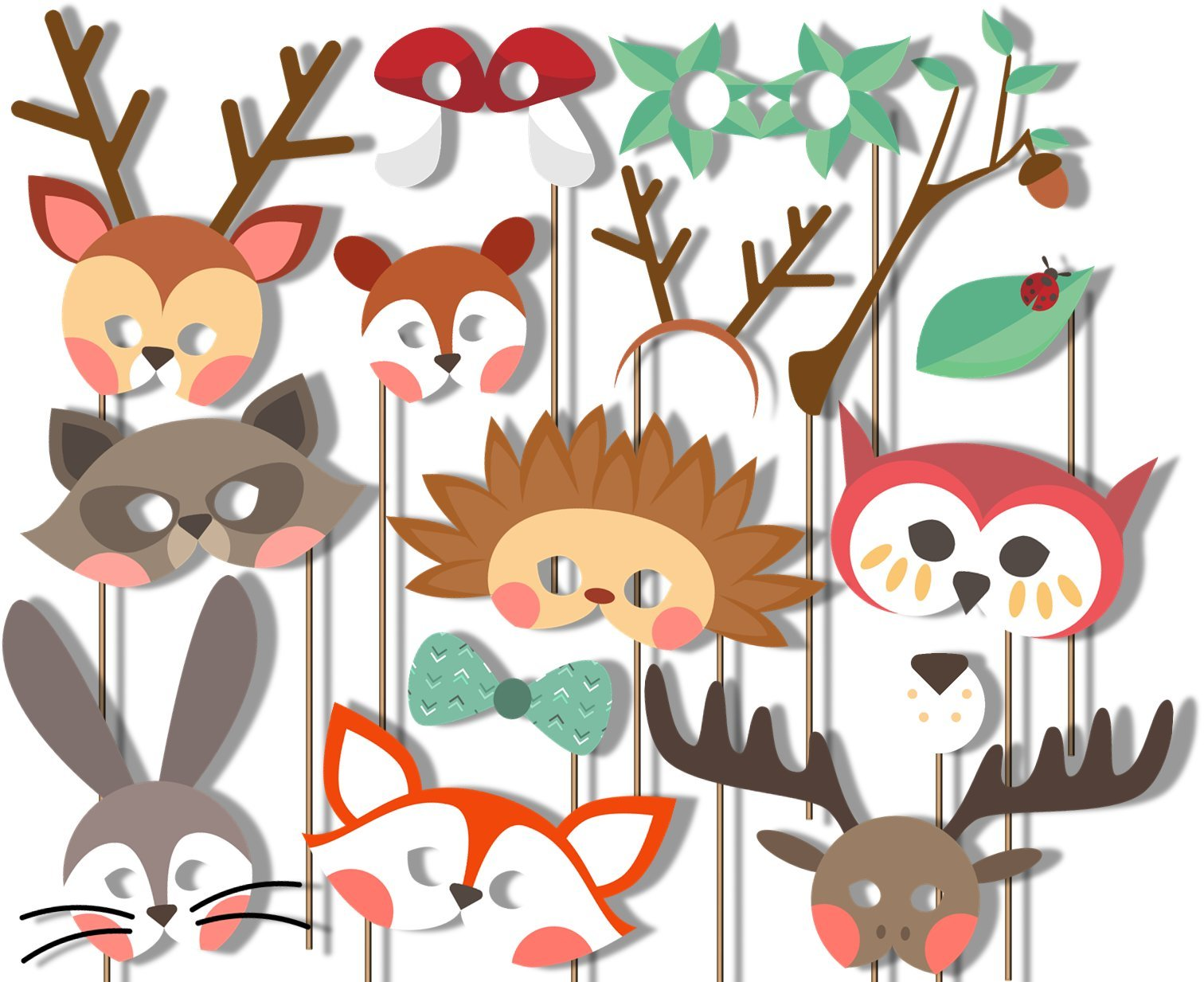 Woodland Animals Photo Booth Props Kit - 20 Pack Party Camera Props Fully Assembled