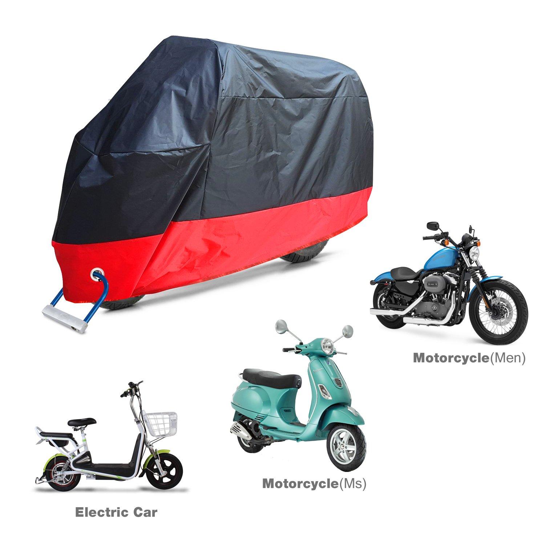 Aoafun Funda Moto 190T Cubierta Impermeable de Motocicleta Funda Protectora Moto Scooter,2 cerraduras del acero inoxidable Diseño, 2 respiraderos de aire, ...