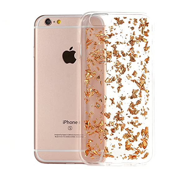 online store b1b5f b862f iPhone 6s Case TycoonYu Luxury Soft Bling Glitter Faceplate Sparkle  Platinum Leaf TPU Protective Fashion Design Bumper Cover for iPhone 6s  (Rose Gold)