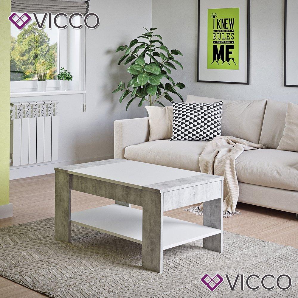 Vicco Couchtisch mit Schublade 100 x 60 cm - Beistelltisch Holztisch ...