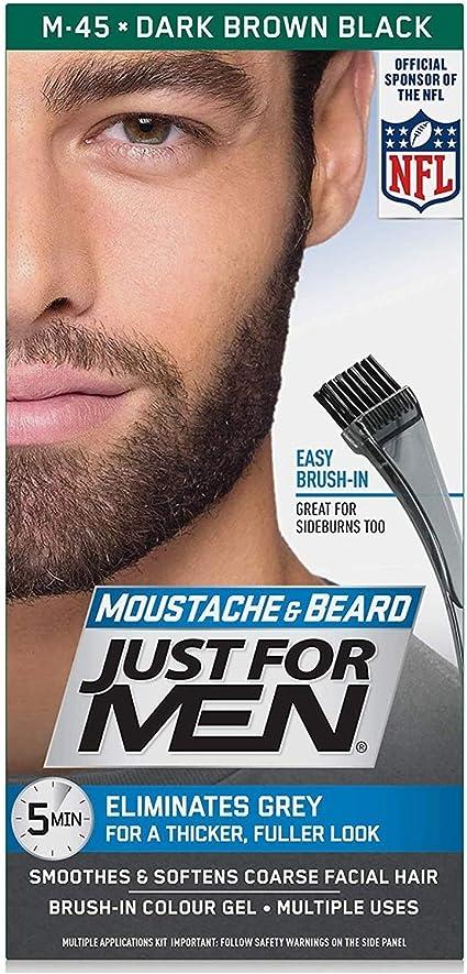 Just For Men - Gel de color para bigote, barba y patillas M-45 marrón oscuro negro (paquete de 3)