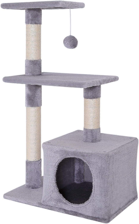 Rascador para gatos Árbol escalador arañar Juguete para Mascotas (gris claro)