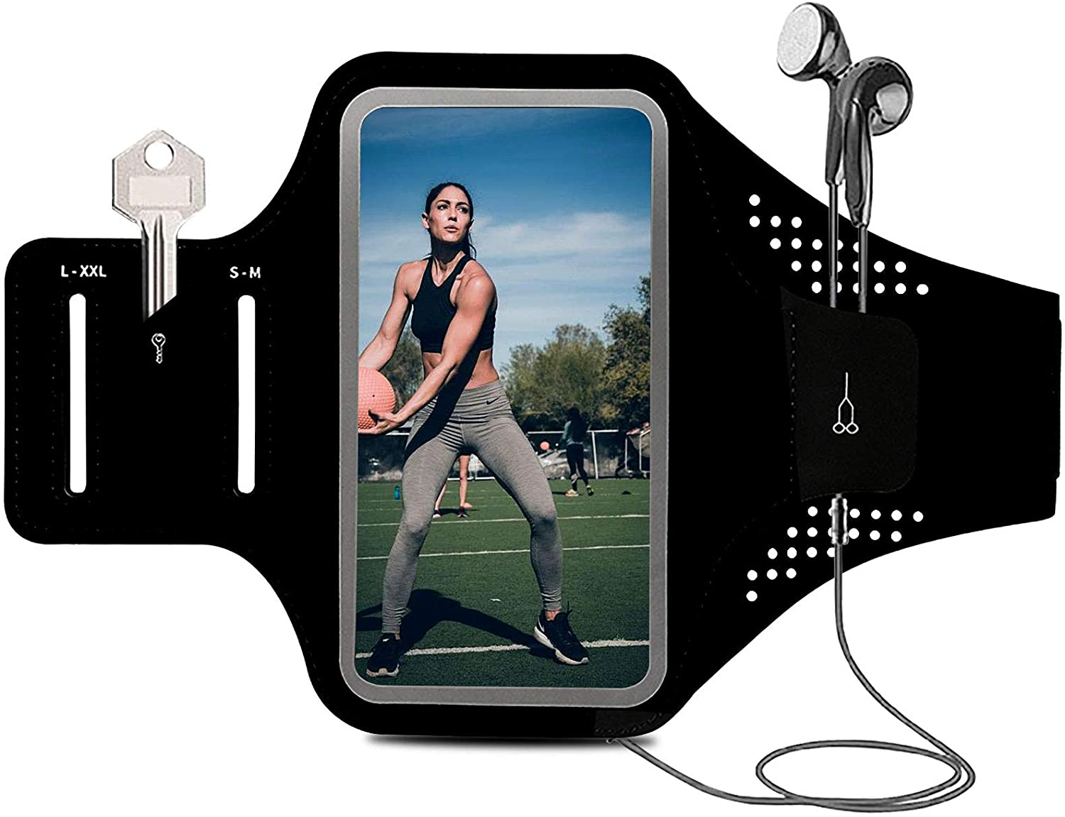 Armband for Cell Phone Running Armband Phone Holder for iPhone Armband 11 12 Pro Max X XR XS Max 10 8 7 6s Plus SE Smartphone ID,Phone Armband Sleeve Fit Sport Exercise Workout Fitness Black Arm Band
