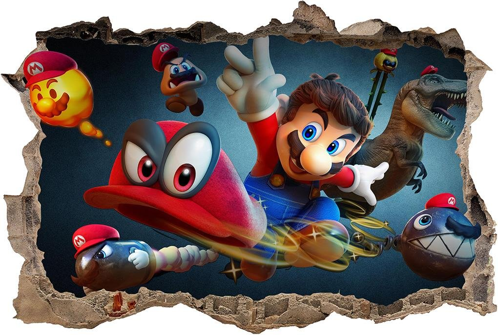 Super Mario Odyssey 3D Smashed Wall Sticker Decal Home Decor Art Mural J1012, Large