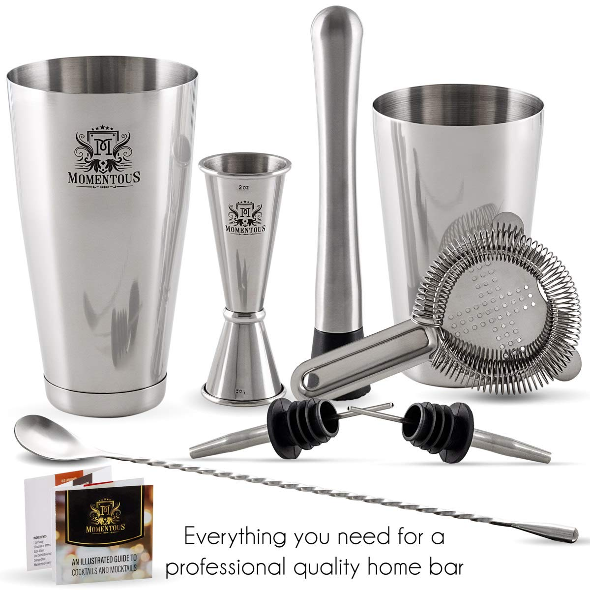 Muddler Premium Boston Cocktail Shaker Set by MomentouS Stainless Steel Mixology Bartender Kit with Weighted Shaker Tins Hawthorn Strainer Double Jigger 2 Pourers and Bonus Recipes Mixing Spoon