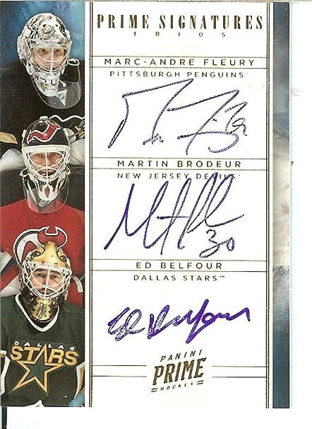 Hockey Nhl 2011 12 Prime Signatures Trios Gold 8 Ed Belfour Marc