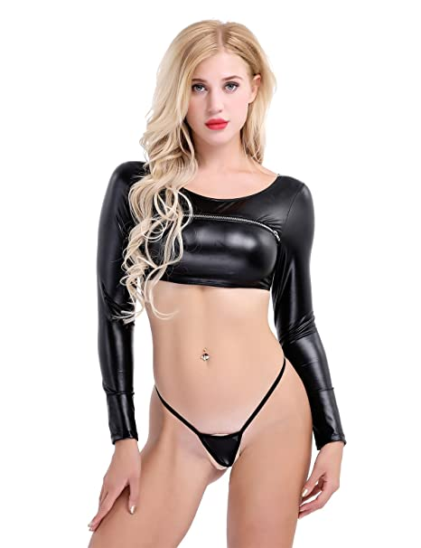f09c431ee3 CHICTRY Women's Black Leather Metallic Zipper Crop Top G-String 2 Piece  Clubwear Set