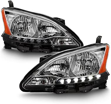 For 13-15 Nissan Sentra Pair C-Shape LED Neon Tube DRL Projector Headlight Lamp