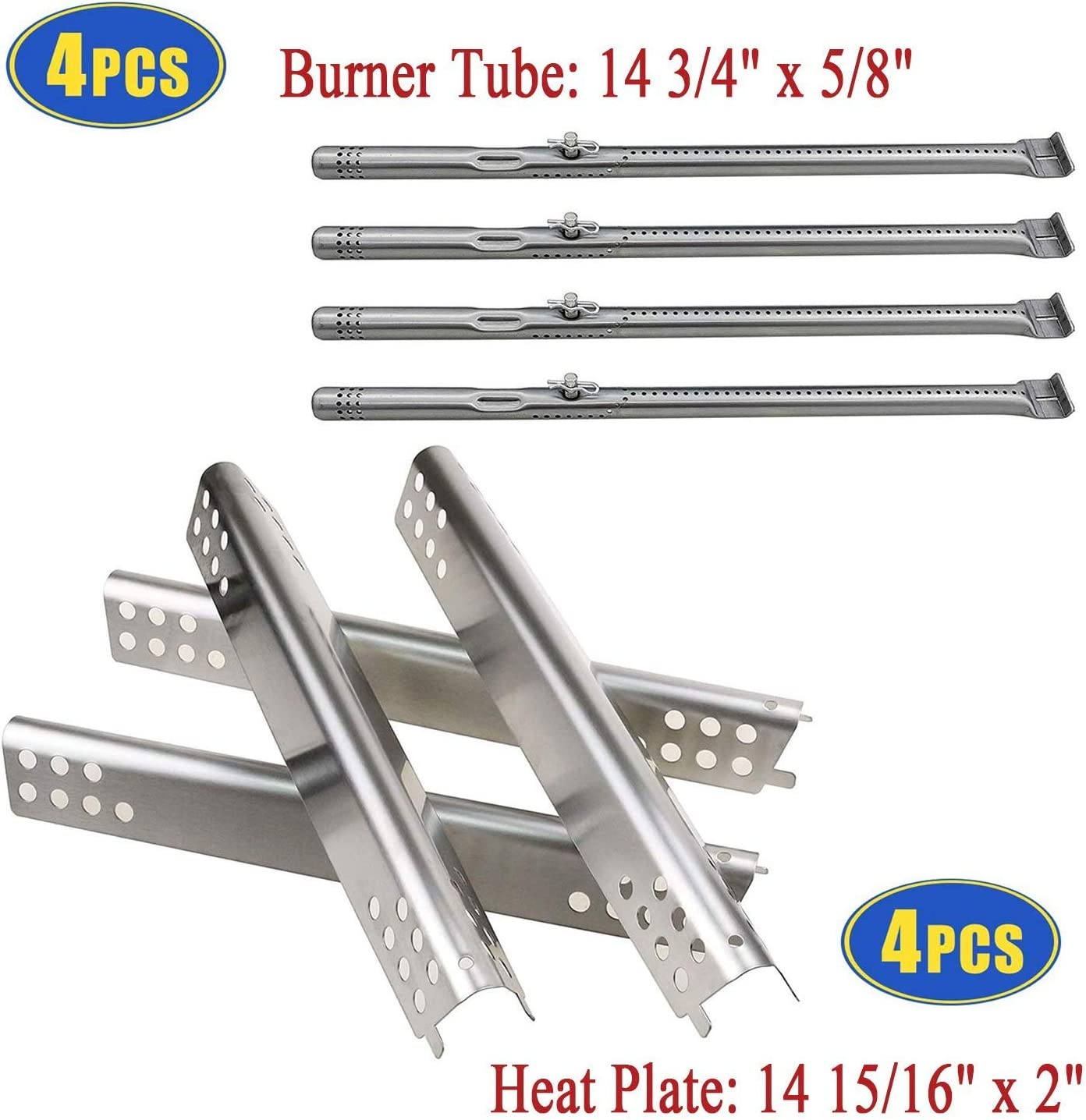Grill Replacement Parts for Char Broil 463344015, 463343015, 463433016, Stainless Pipe Burner, Heat Plate Tent Shield for Charbroil Advantage 4 Burner 463240115, 463240015 Gas Grills