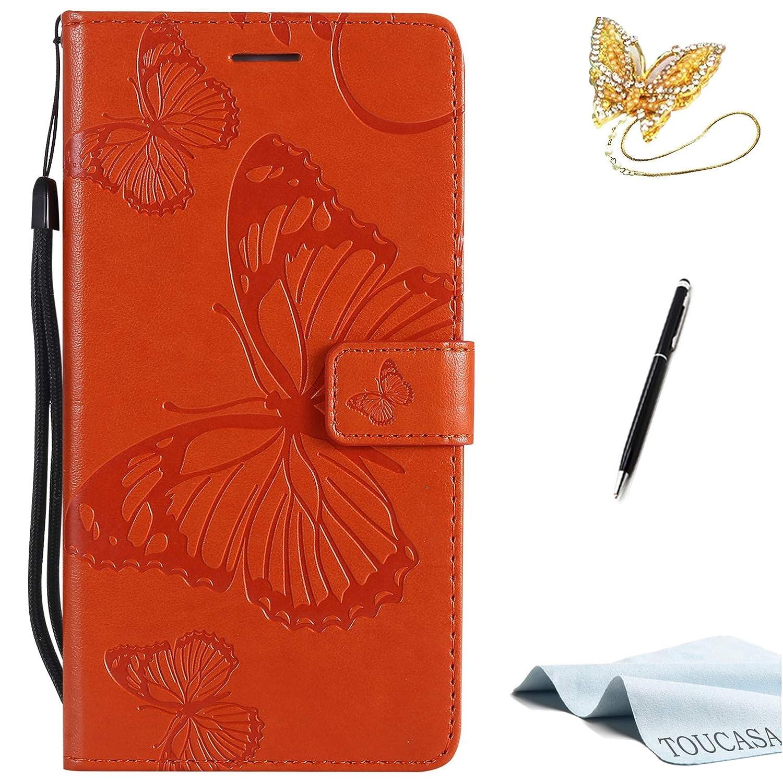 TOUCASA Coque Note 4,Housse Note 4, Coque Cuir PU Portefeuille à Aimant [Papillon 3D] Technologie en Relief Étui pour Samsung Note 4-Coque Orange ersi201886da60009