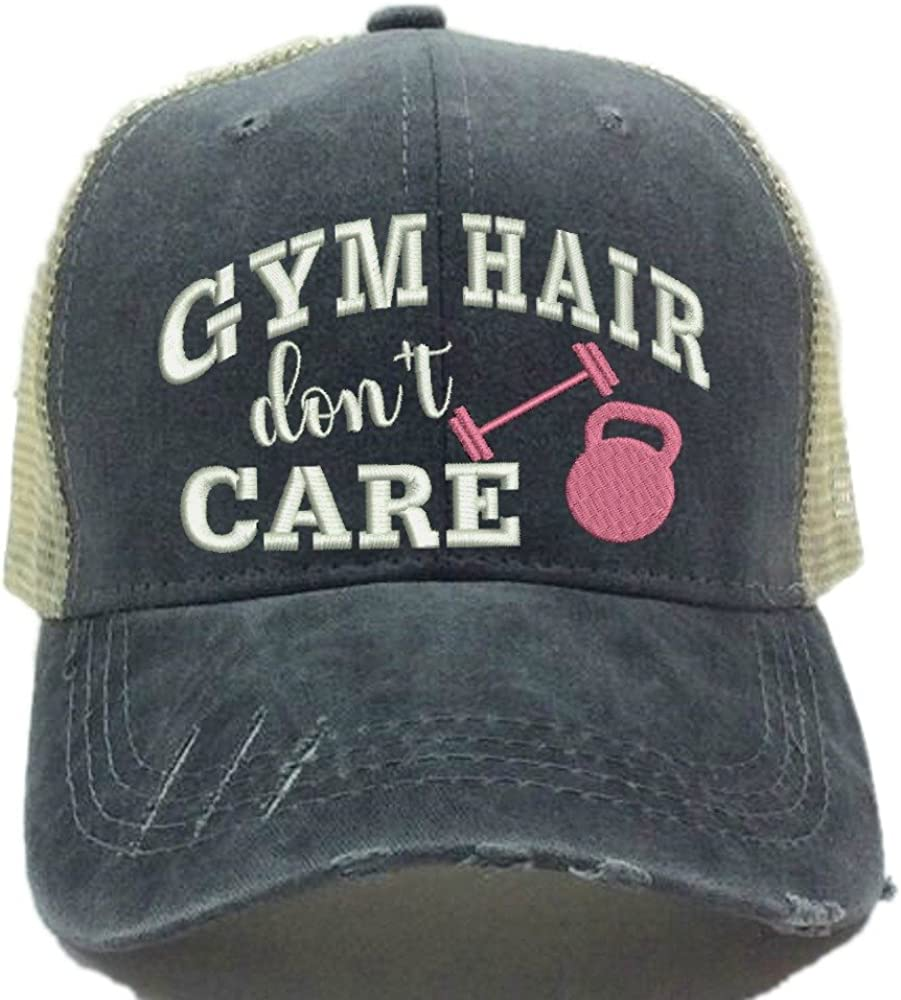 TCJX Gym Hair Dont Care Mesh Baseball Cap Girls Adjustable Trucker Hat Sky Blue
