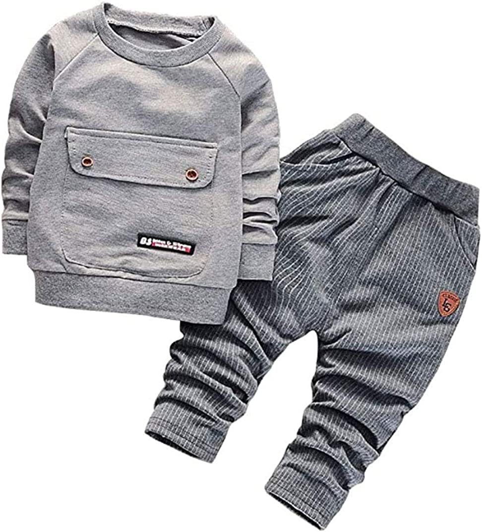 WonderBabe Baby Boy Toddler 2 Pieces Clothes Winter Autumn Set Round Neck Long Sleeve T-Shirt Top Pants Outfit