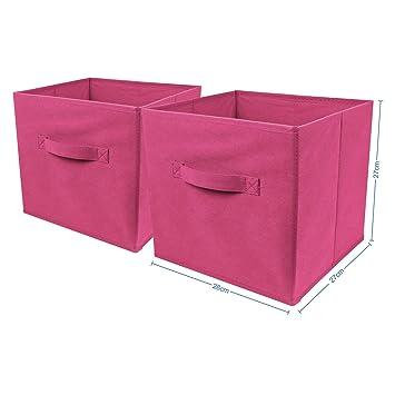 Top Home Solutions - Conjunto de 2 cajas de almacenamiento en forma de cubo, plegables, para habitaciones juveniles, dormitorios o despachos: Amazon.es: ...