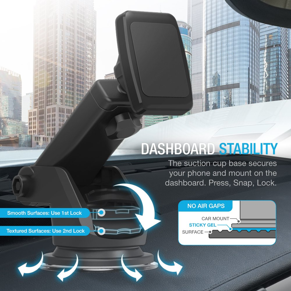 Maxboost Dashboard Mount, Universal Durahold Magnetic Car Mount w/Extended Adjustable Arm Perfect on Windshield Car Mount Holder For Phones, iPhone X 8 7 6s 6 Plus, Galaxy s9, s8, Note 8,LG,Pixel 2 by Maxboost (Image #4)
