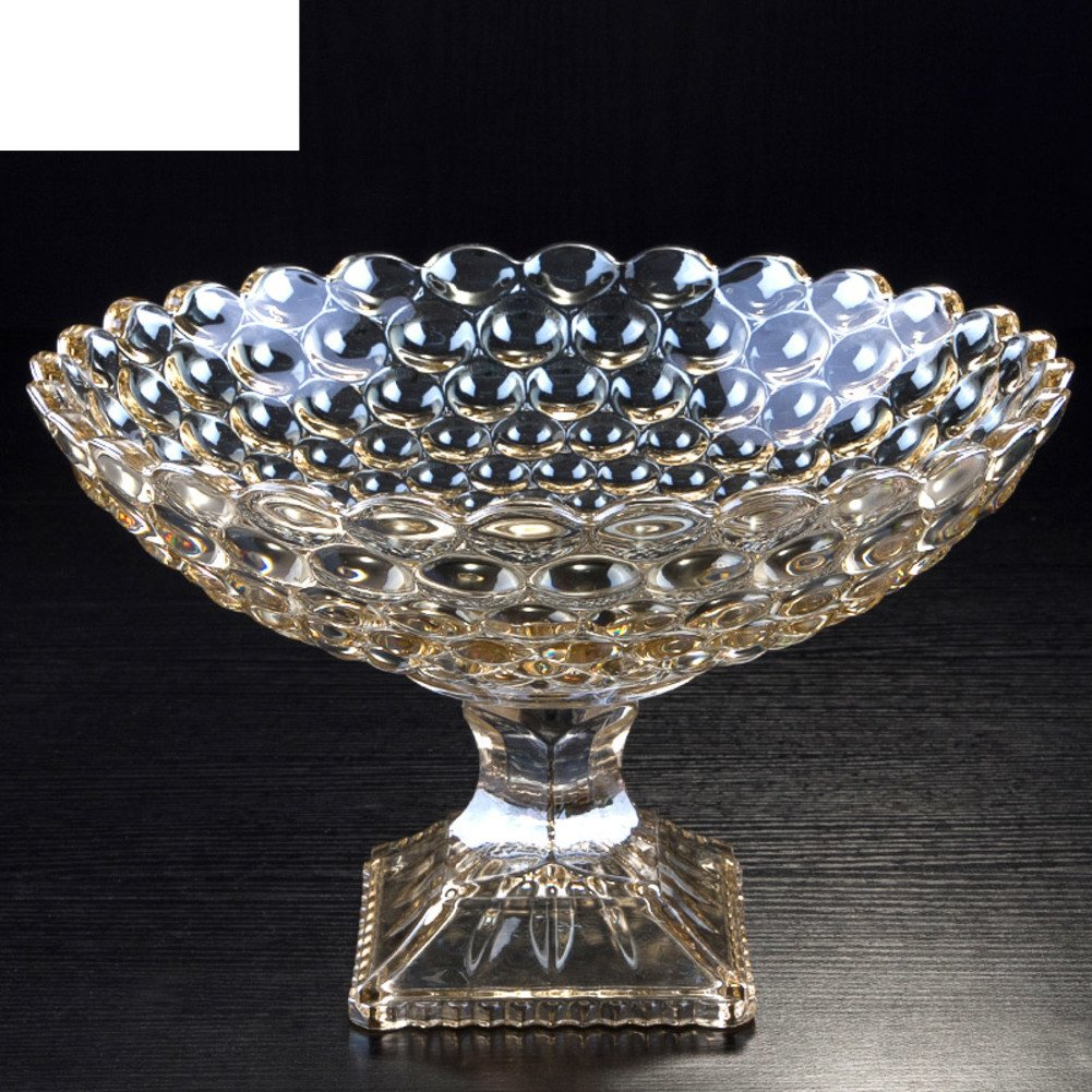 European Fruit on Stilts Crystal Glass Fruit Bowl Household Living Room Plate-A Decoration