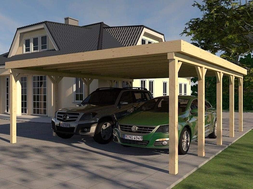 Prikker Carport Montreal XXVII - Tejado Plano para construcción (600 x 730 cm, Madera de Abeto): Amazon.es: Coche y moto