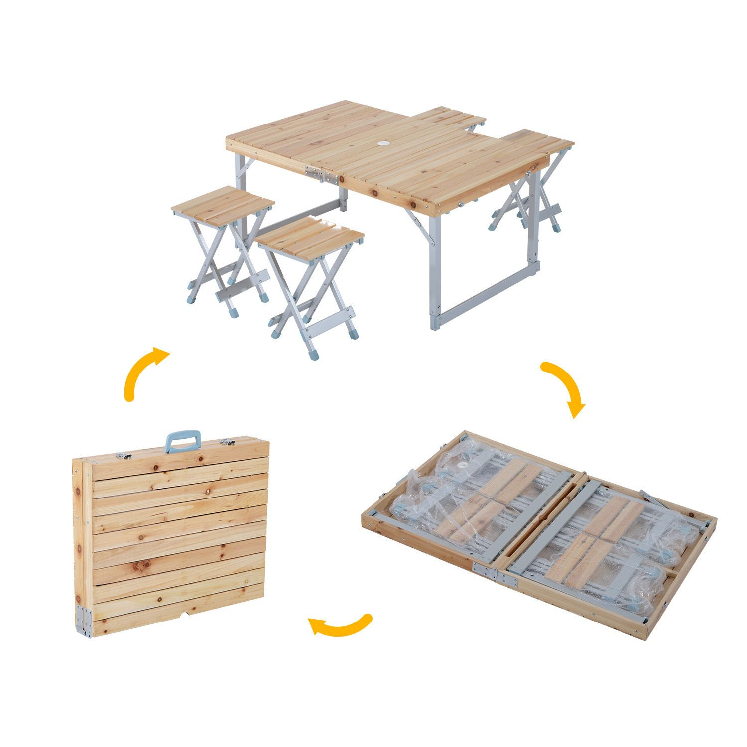New MTN-G Picnic Chair Table Set Wood Adjustable Outdoor Folding Portable Camping