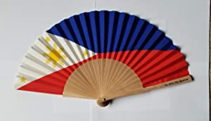 Philippines Flag Fabric Folding Hand Fan with Bamboo Handle